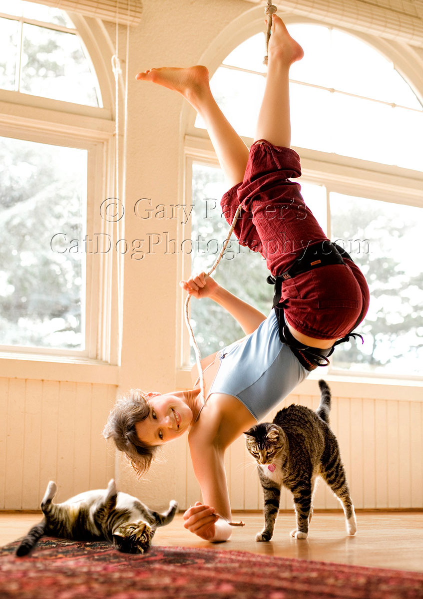CLIMBER HANGING OUT WITH HER CATS...