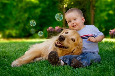 15 month old with his Golden Retriever