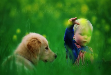 CHILD WITH GOLDEN RETRIEVER PUP...