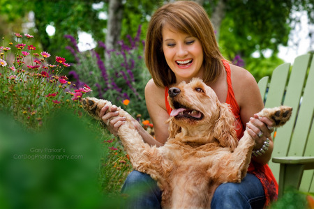 DHARMA, A GOLDEN DOODLE, MEDITATES DURING A WEBSITE SHOOT FOR SARA, HER HUMAN...
